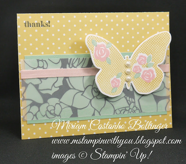 Miriam Castanho-Bollinger, #mstampinwithyou, stmapin up, demonstrator, ppa, thank you, sheer perfection designer vellum, subtles DSP, floral wings, lots of thanks, su