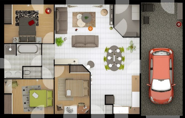 Plano de casa moderna de 80 m2 planos de casas gratis y for Casa moderna 5 dormitorios