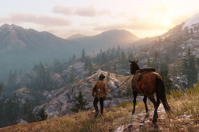 personagem com o cavalo, montanhas e paisagem, céu aberto