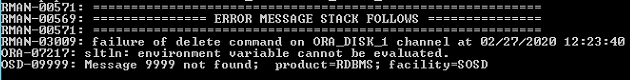 ORA-07217: sltln: environment variable cannot be evaluated