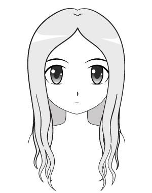 Contoh cara menggambar rambut anime panjang