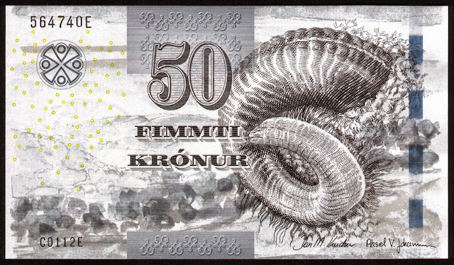 Faroese Banknotes 50 Krone banknote 2011 Ram's horn