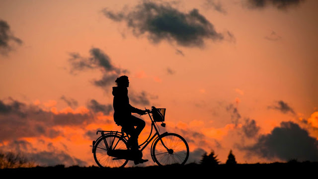 a cyclist riding in the orange sunset