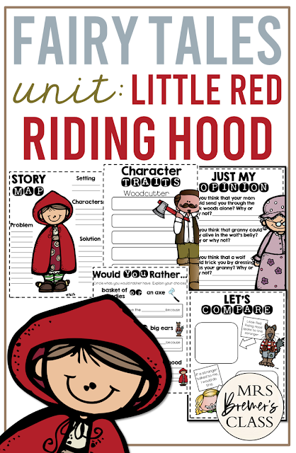Little Red Riding Hood Fairy Tales unit with Common Core aligned literacy activities for First Grade and Second Grade