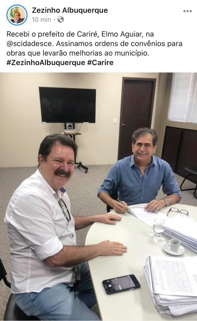 Secretário das Cidades recebe o prefeito Elmo Aguiar e assina ordens de convênios para obras que levarão melhorias a Cariré