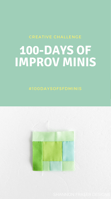 The 100-day Project Creative Challenge | Modern Improv Mini Quilts by Shannon Fraser Designs #modernimprovquilting #miniquilts #100daysofsfDminis