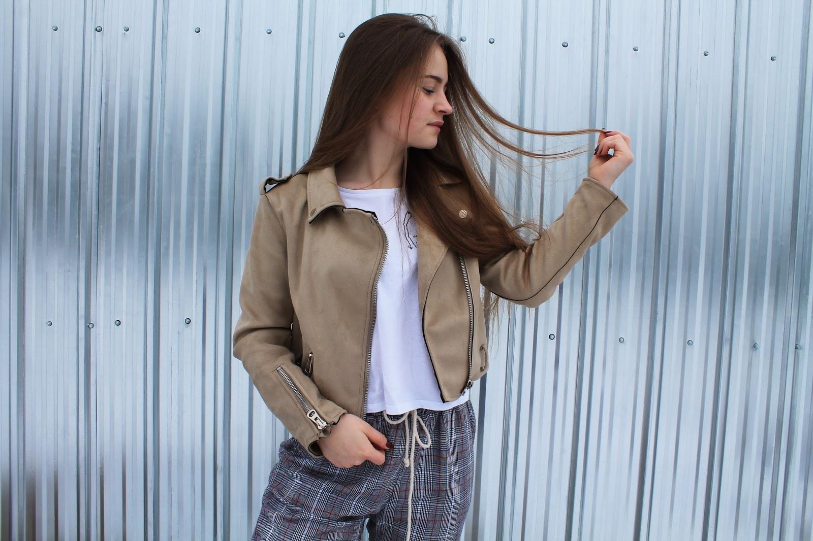 Plaid pants with camel jacket