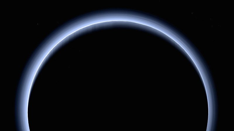 Pluto's blue skies image taken by New Horizons