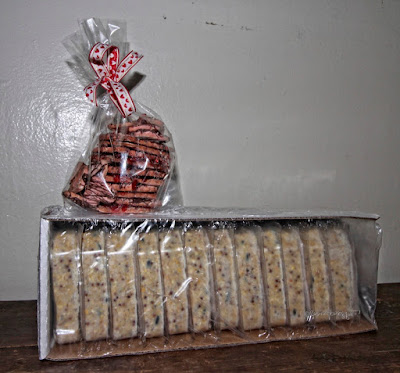 "This picture features a cellophane bag filled with heart shaped cookies ""designed"" for Valentin'es Day. The bag is siting atop a white carton filled with 12 suet cakes which will be ""given"" to the wild birds who visit my rooftop garden. This garden is the setting for my three volume book series, ""Words In Our Beak."" Info re these books is featured within  another post on my blog @ https://www.thelastleafgardener.com/2018/10/one-sheet-book-series-info.html"