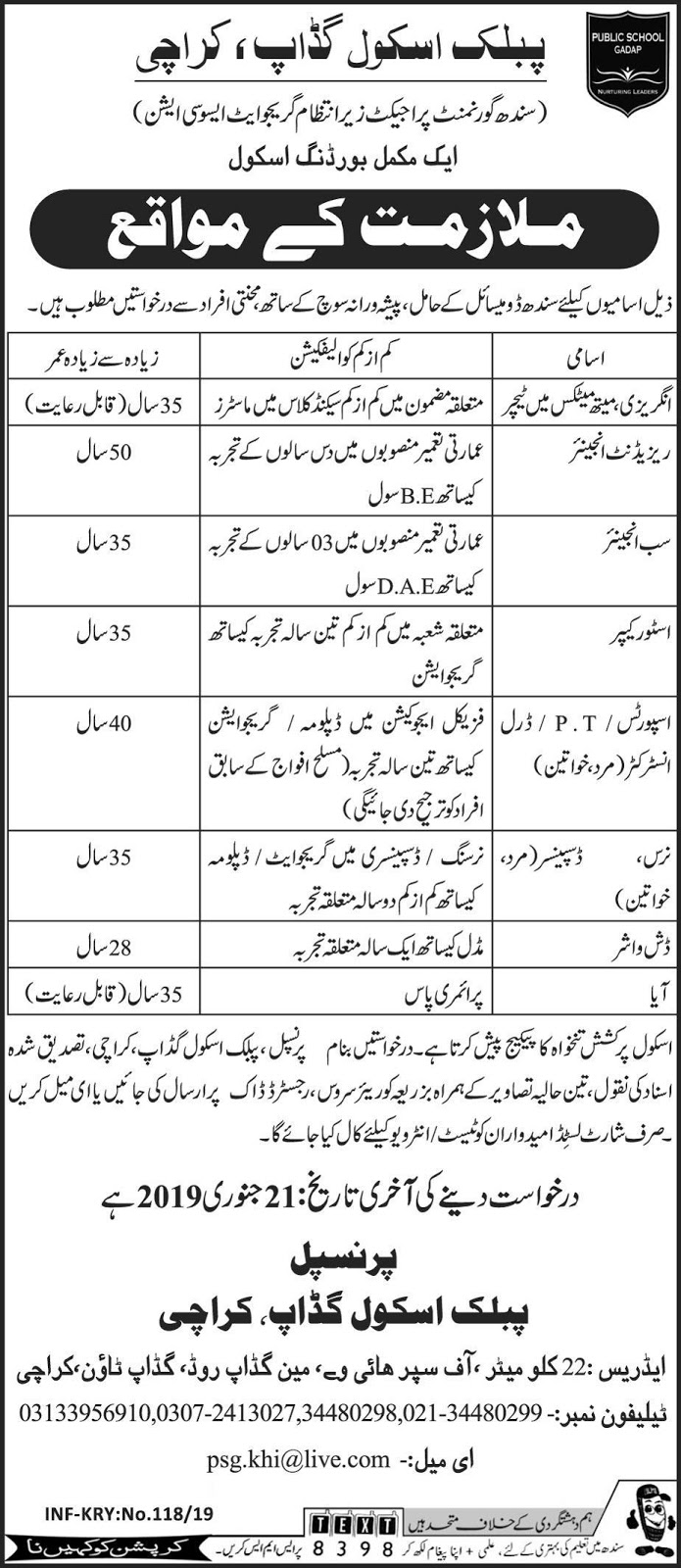 Jobs vacancies In Public School Gadap Karachi 11 January 2019