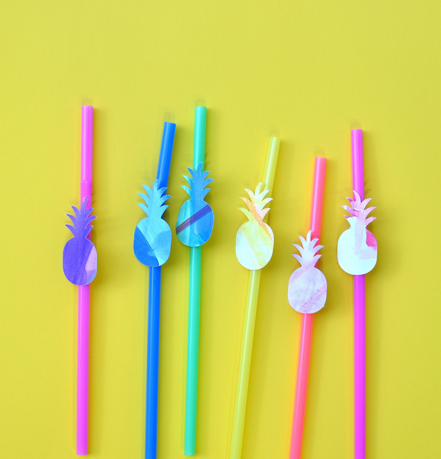 such a fun diy making watercolor pineapple straws