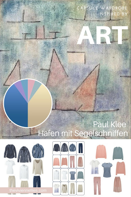 How to Accent Khaki and Denim with Softer Colors - Start with Art: Hafen mit Segelschniffen by Paul Klee