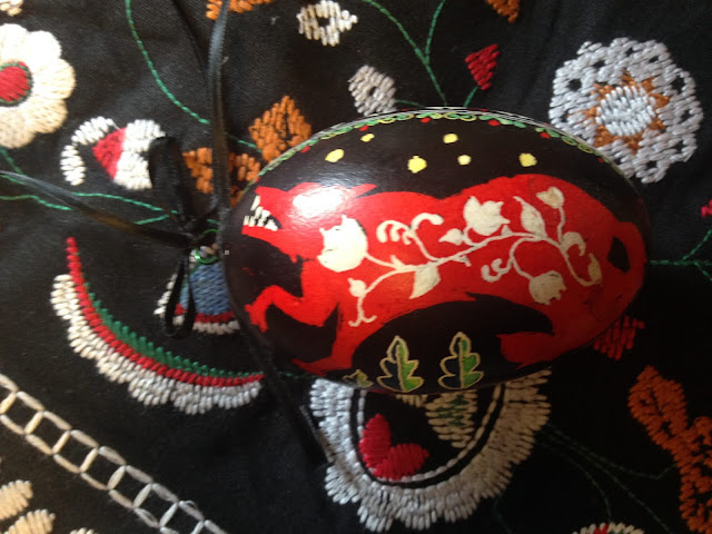 pysanky egg wolf and hungarian embroidery