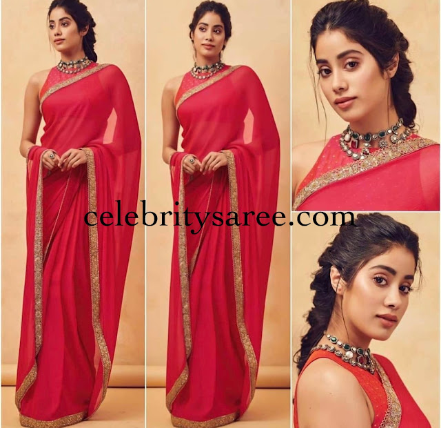 Janhvi Kapoor Red Saree