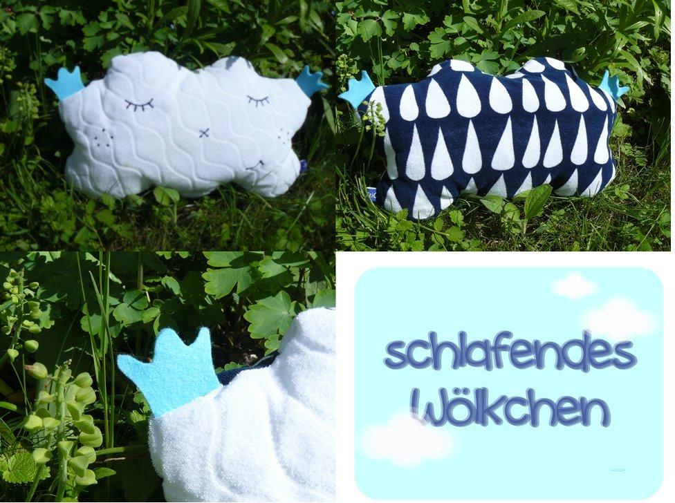 Wölkchen aus dehnbarem Frottee, vorne weiss und hinten blau mit Regentroüfen
