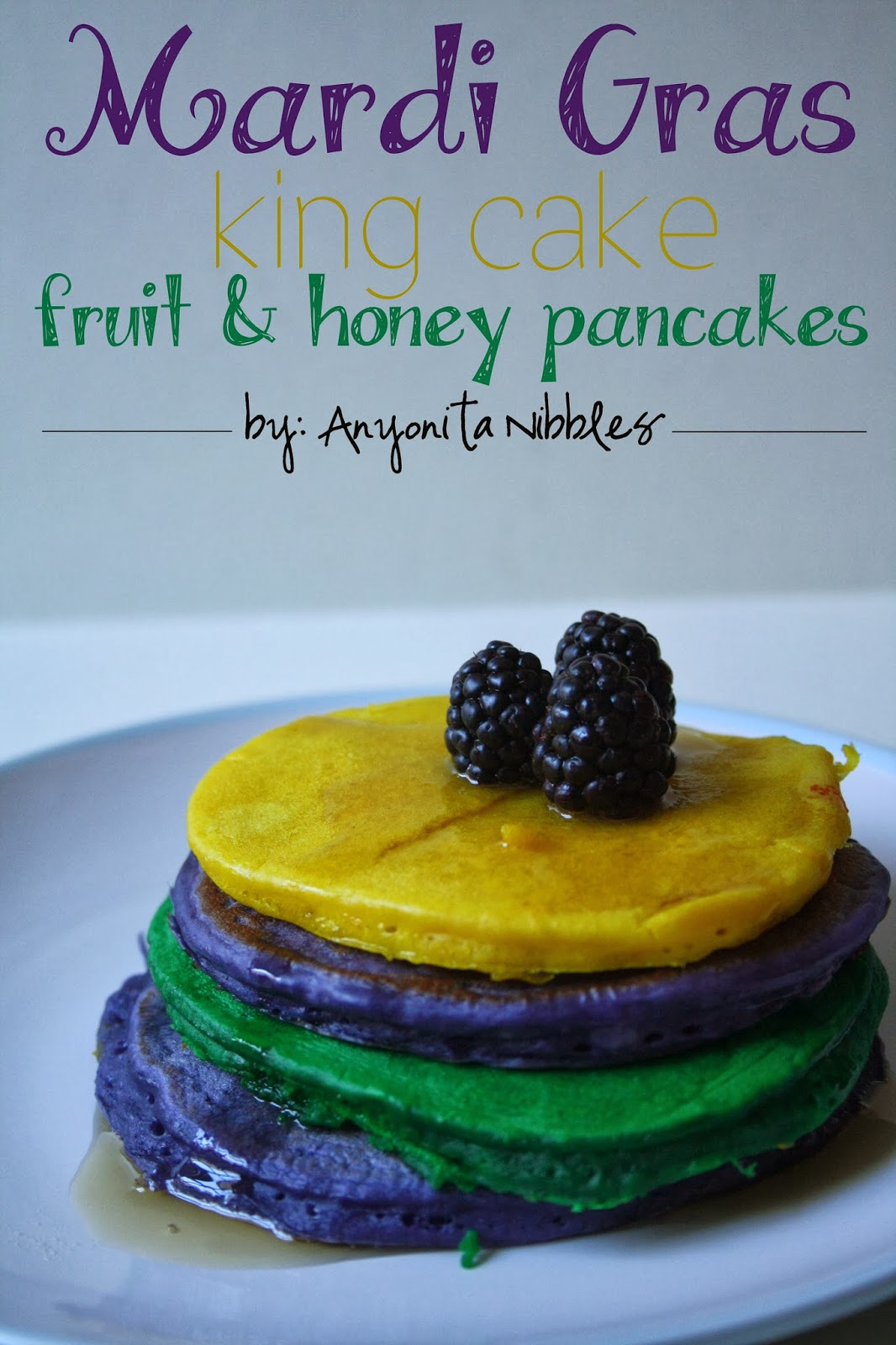 Mardi Gras King Cake Fruit & Honey Pancakes. I love how vibrant & festive these are! They're dead easy to make, too!