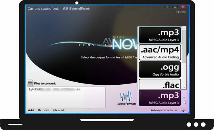 AV MIDI Converter:  Μετατροπή MIDI σε MP3, AAC/MP4, OGG, FLAC, WAV με ποιότητα  CD
