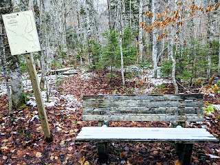 Winter Bench In Uisge Ban Falls Provincial Park Along The Cabot Trail, Cape Breton Island