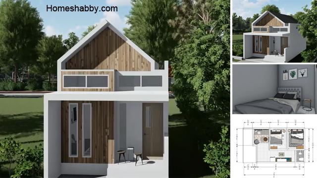 Desain Dan Denah Rumah Minimalis Ukuran 4 X 7 M Konsep Tiny House Dengan 2 Kamar Tidur Cocok Untuk Keluarga Kecil Homeshabby Com Design Home Plans Home Decorating And Interior Design
