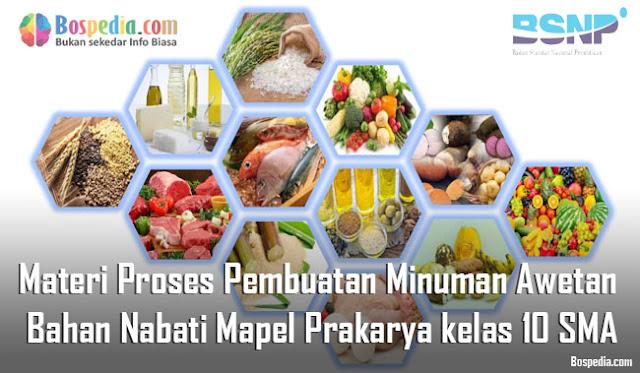 Materi Proses Pembuatan Minuman Awetan Bahan Nabati Mapel Prakarya kelas 10 SMA/MA