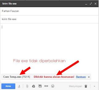 file exe, zip, rar gagal terkirim dari email gmail