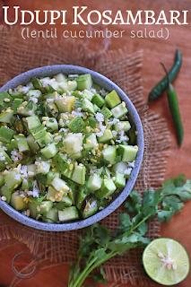 Udupi Kosambari / Lentil Cucumber Salad / Uddina Bele Koshambari