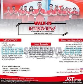 Walk In Interview di PT. Karya Niaga Abadi (J&T Express) Surabaya Terbaru Mei 2019