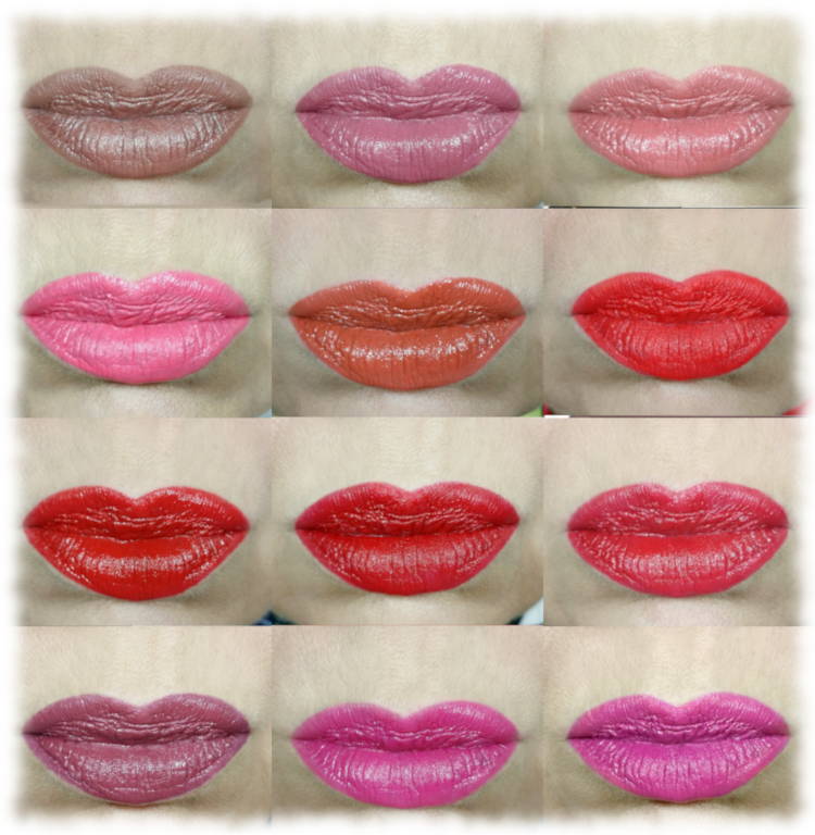 Collage of 12 Lipsticks worn in November