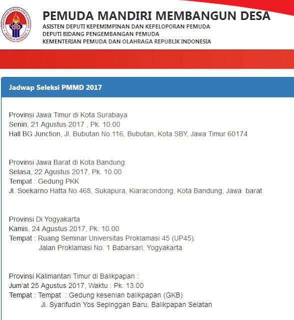 Jadwal Seleksi PMMD 2017
