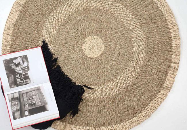 Καλοκαιρινό Ψάθινο Χαλί: Makid Natural-White Royal Carpet