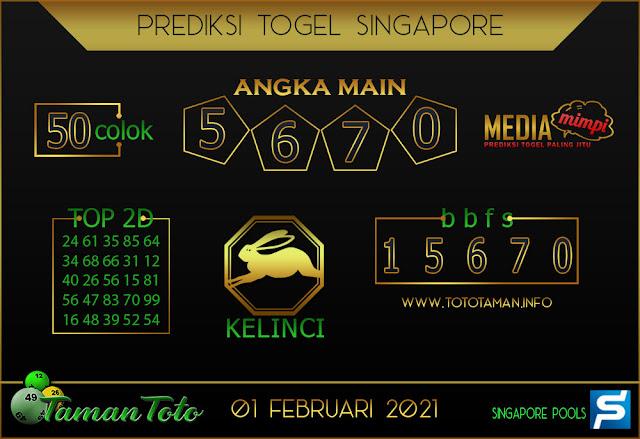 Prediksi Togel SINGAPORE TAMAN TOTO 03 FEBRUARI 2021