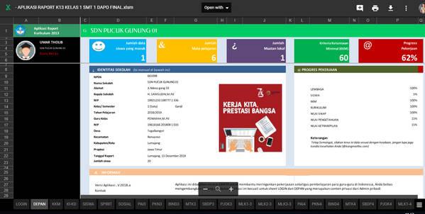 Aplikasi Raport K13 Kelas 2 Semester 1 Revisi 2018