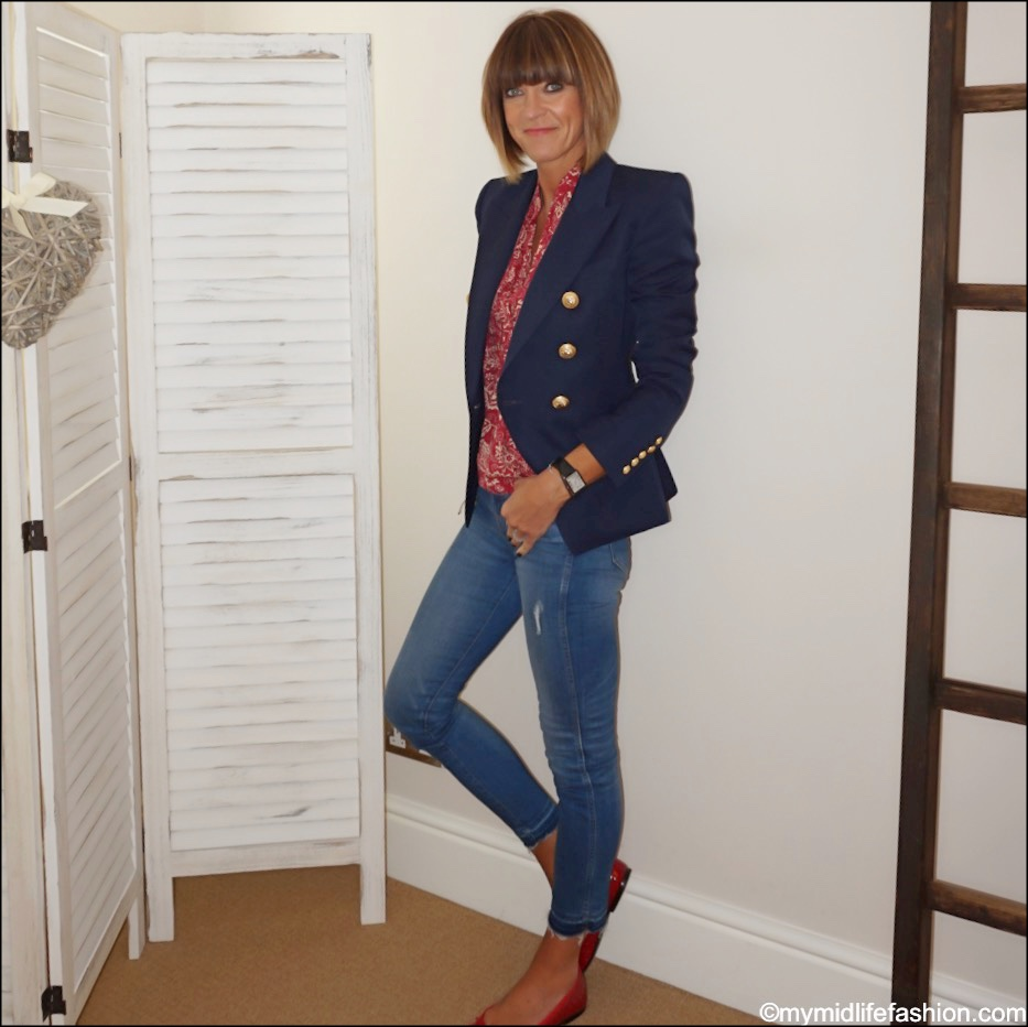 my midlife fashion, French sole Henrietta red patent crocodile ballet flats, Balmain double breasted wool twill blazer, Isabel Marant Etoile patterned blouse, j crew skinny jeans