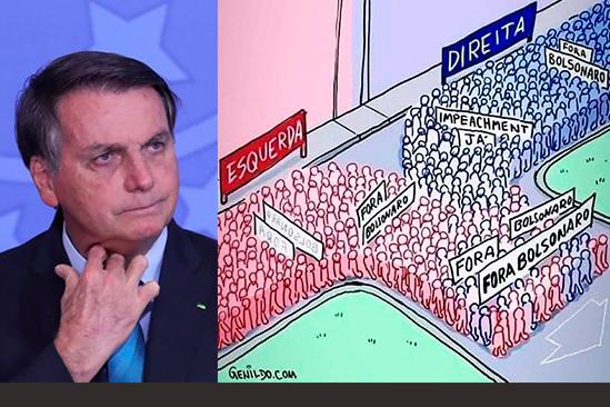 O presidente Jair Bolsonaro e uma charge que relata o momento político no Brasil