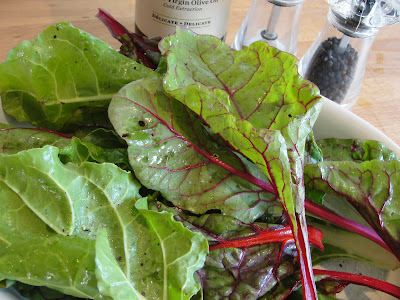 swiss chard with olive oil, salt and pepper