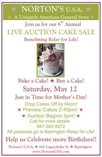 Live Auction Cake Sale Benefiting Barrington Relay for Life at Norton's U.S.A. May 12
