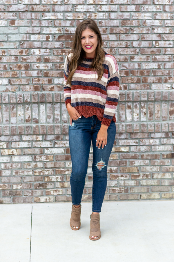 Dunes Striped Sweater- Cotton Ave Boutique