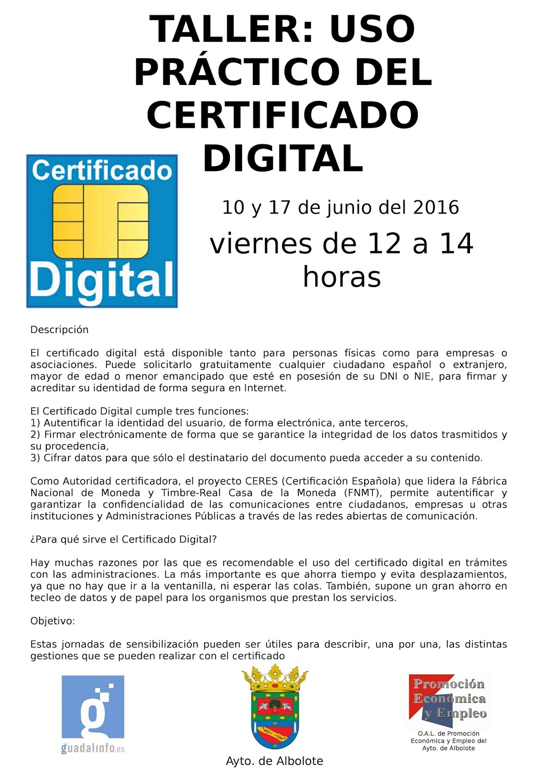 Taller uso pr ctico del certificado digital for Renovar demanda de empleo con certificado digital