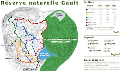 Carte des sentiers du mont Saint-Hilaire