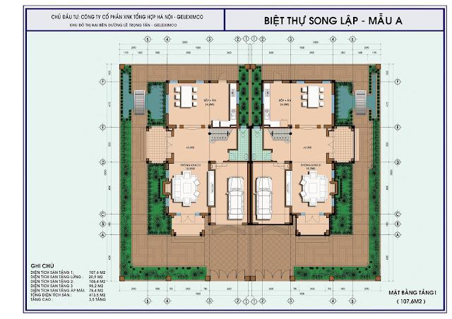 Mặt bằng thiết kế tầng 1 biệt thự song lập mẫu A, Geleximco