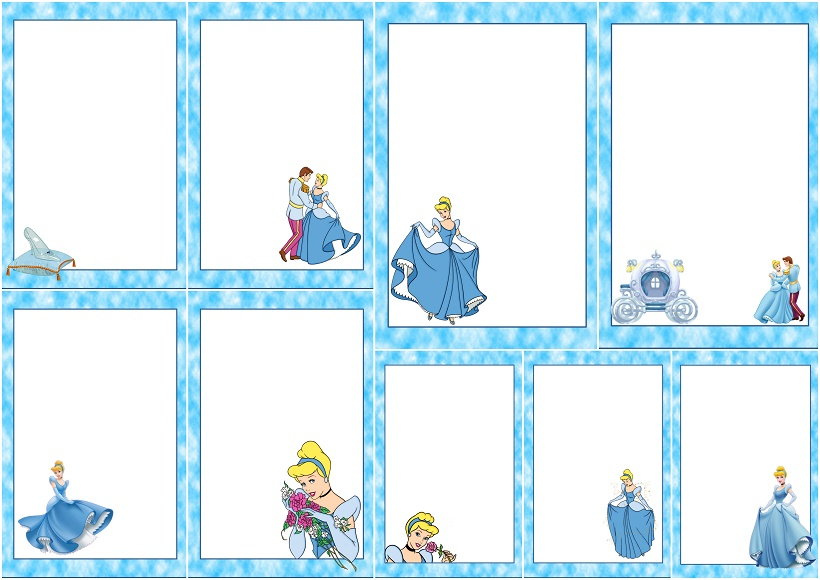 cinderella free printable frames  invitations or cards