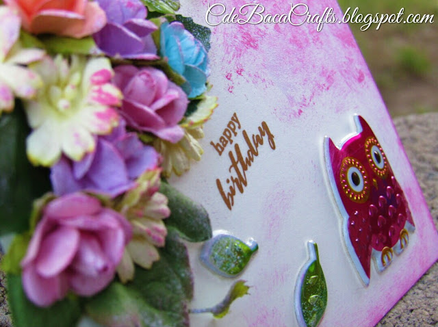 Happy Birthday handmade card with owls and colorful paper flowers by CdeBaca Crafts