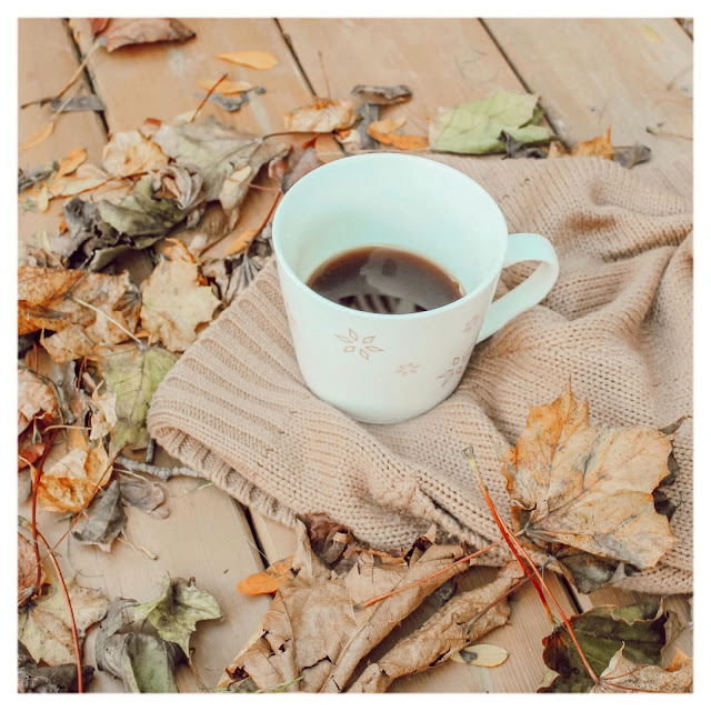 cup of coffee on a fall day