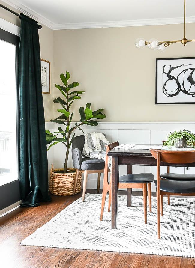 Dark green velvet modern dining room curtains