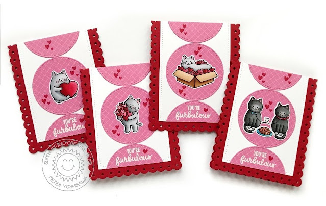 Sunny Studio Blog: Red & Pink Kitty Cat Love Themed Valentine's Day Kids Classroom Card Set (using Meow & Furever Stamps, Slimline Scalloped Frame Dies, Stitched Circle Large Dies & Dies & Gingham Pastel Paper)