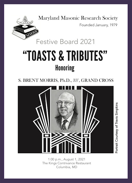 Maryland Masonic Research Society. Festive Board in Honor of S. Brent Morris,  PhD, 33°, GC. Portrait by Travis Simpkins