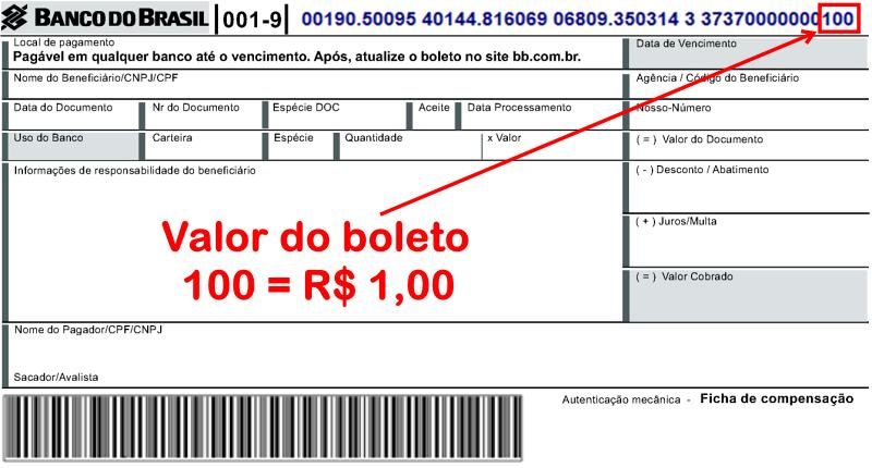 Boleto com valor de R$ 1,00