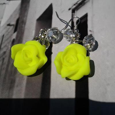 orecchini rose gialle fimo