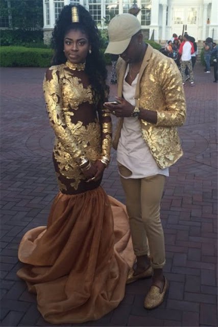 Amazing Gold Mermaid High-Neck Prom Dress Appliques Long-Sleeve Evening Gowns-Price:US$ 169