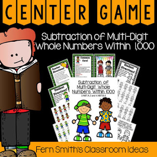 Tips, Tricks, Lesson Plans, Centers, Task Cards, Color By Numbers and Resources to Teach Using Place Value to Subtract to Your Class, by Fern Smith's Classroom Ideas.